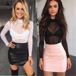 Fashion Sexy T-Shirts Long Sleeve See-Through Top Clubwear