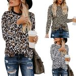 New Leopard Print T Shirt Long Sleeve Casual Top Tee Plus Size