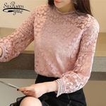 new fashion tops and blouses long sleeve sexy hollow lace