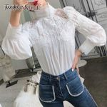 Mesh Lace Patchwork Shirt Stand Collar Lantern Sleeve Blouses