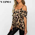 Blouse Hot Leopard Print Cold Shoulder Blouse Tops