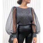Elegant Knitted Patchwork Tops Blouse Mesh Puff Sleeve O-neck