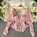 Fashion Vintage Gothic Blouse Shirt New Bow Design Shining Pink Long