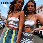 Sexy PU Crop Tops Holographic Rave Clothes Sleeveless Tanks