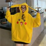 Pokemon Pikachu Print Hoodies Plus Velvet Thickening