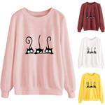 Cat Hoodies Sweatshirts Pure Color Tunic Long Sleeve Tops