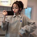 Hoodies Spring Trendy Simple Embroidery Kawaii Ulzzang Solid Preppy Style