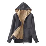 Casual Warm Sherpa Lined Zip Up Hooded Sweatshirt Jacket Coat Hoodies