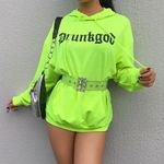 Sexy See Though Mesh Tops Neon Green Long Sleeve Pullovers
