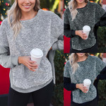 Split Sweatshirt Two Colors Patchwork Asymmetric Long Sleeve