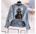 Hole Jeans Frayed Denim Jacket Short Loose Spring
