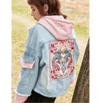 Spring Denim Jacket Embroidery Floral Hole Hooded Jeans Coat