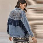 Jacket Denim Jacket Spring Vintage Floral Embroidery Suede Fringe Loose Coat
