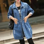 Hole Denim Jacket boyfriend Wind Jean Loose Long Sleeve