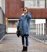 New Plus Size Velvet Denim Jacket Long Sleeves