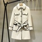 high quality belt overcoat Chic elegant