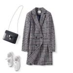 New Long Double-breasted Plaid Woolen Coat