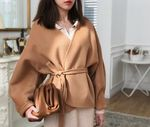 Coat Spring Curved Contour Tie Waist Wool