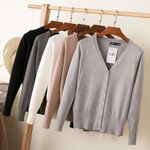 Knitting Cardigan Coat Solid Color Fashion V-Neck