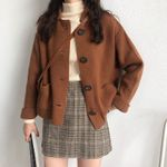 korean style solid color turn down collar knittd