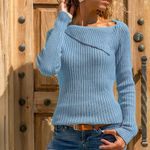 Hollow Out Knitted Sweater Turn Down Collar