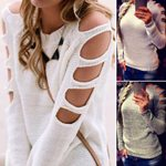 Sweaters and Pullovers Cold Shoulder Hollow