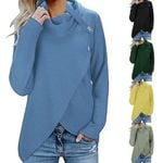 Long Sleeve Button Cowl Neck Casual Knitted Pullover