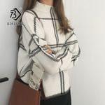 New Pullovers Sweater Fashion Plaid Turtleneck Loose Knit