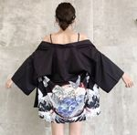 new kimono cardigan casual half sleeve loose black