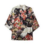 Harajuku Japanese Waves Casual Print Flower Crane Kimono