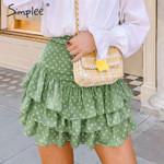 Bohemian dot print ruffled skirts