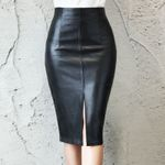 PU Leather Midi Package Hip Front or Back Slit Pencil Skirt