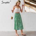 Buttons floral print High waist spring midi skirts