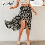 Fashion chain print midi Elegant lace up mid waist wrap skirt