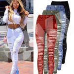 Ripped Hole Distressed Slim Denim Pants Jeans