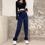 Plus Size Loose High Waist Vintage Straight Jeans