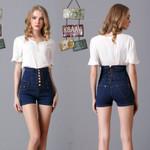 Plus-Size High Waist Skinny Elastic Jeans Short