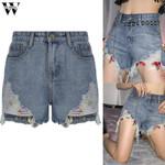 Womail Sexy High Waist Pocket Denim Shorts
