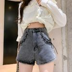 Jeans Wide-leg Loose High Waist A-line Denim Shorts