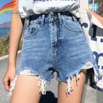 Streetwear Denim Shorts High Waist Ripped