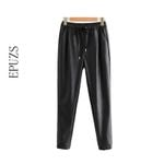 elastic high waist Black pu leather pants