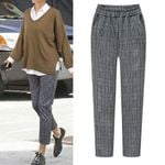 Elastic Waist Plaid Plus Size Casual Fittness Pants