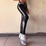 Black Pu Pants High Waist Leather Leggings