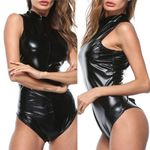 New Black Latex Bodysuit Gothic Faux Leather Catsuit