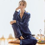 Silk Satin Pajamas Pyjamas Set Long Sleeve Sleepwear