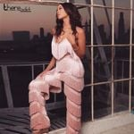 Jumpsuit Rompers Tassels Deep V Neck Backless Pink