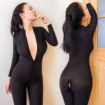 Sexy Crotch Bodycon Long Sleeve Jumpsuits Fashion