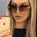 Luxury Brand Design Oversize Rimless Square Sunglasses