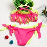Swimsuit Two Pieces Swimwear Tassel Children Split Hollow
