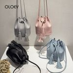 Vintage Small Tassel Bucket Bag For Luxury Handbags